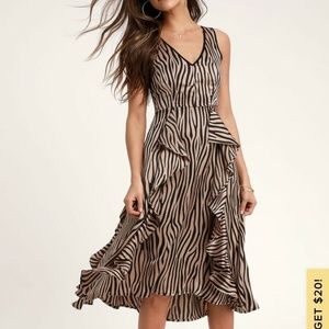 Lulus Tan Tiger Print Ruffled Midi Dress NWT S